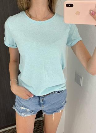 Небесно голубая базовая хлопковая футболка amisu
