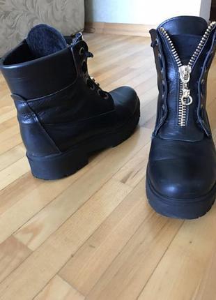 Чёрные кожаные ботинки на молнии balmain
