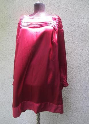 Шелковое платье, шелковая туника вишневая