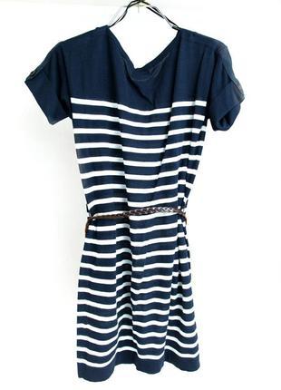 Платье в полоску с поясом massimo dutti сине-белое s