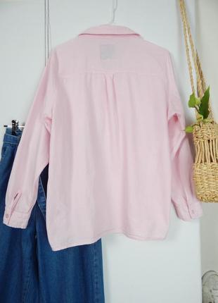Брендовая розовая коттоновая хлопковая свободная рубашка обьемная оверсайз от spirit