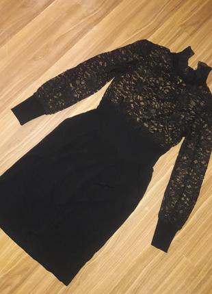 Платье миди вечернее с гипюром