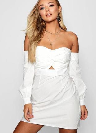 Белое хлопковое платье с открытыми плечами и вырезом бюстье boohoo