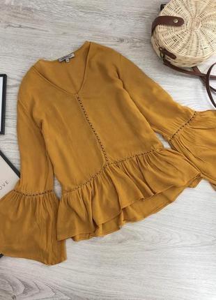 Легкая горчичная хлопковая блуза / рубашка с рюшей, рукава клёш, натуральная
