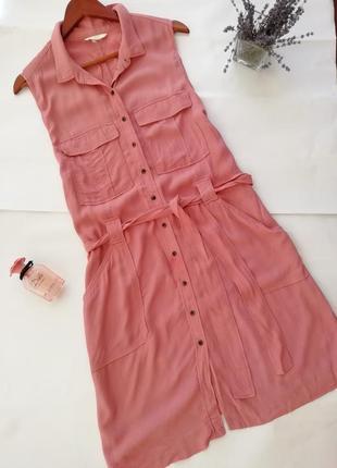 """Платье-рубашка цвета """"пыльная роза"""" h&m"""
