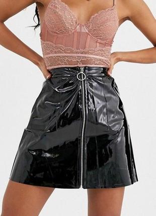 Виниловая юбка с колечком, новая