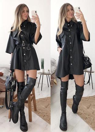 Стильное кожаное платье в черном цвете