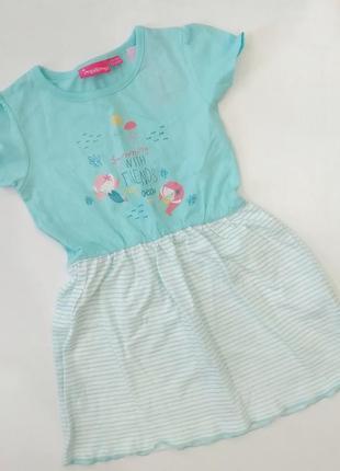 Летнее платье на девочку с русалками в полоску