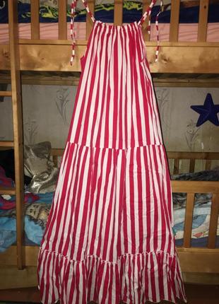 Платье сарафан полосатое в пол