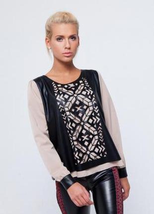 Красивая блуза с кожзамом