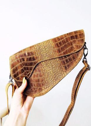 Сумка седло/saddle bag из натуральной кожи в коричневом цвете под рептилию