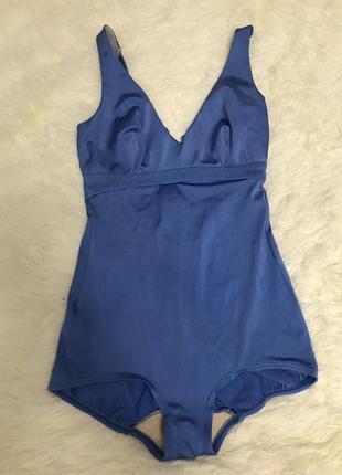 Сдельный сатиновый синий купальник
