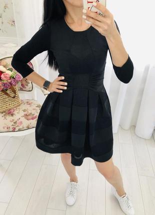 Черное платье из неопрена с сетками в стиле maje италия behcetti