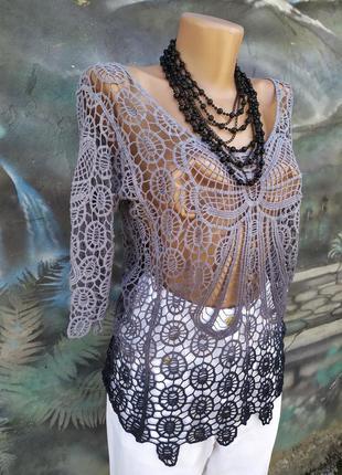Ажурная блуза,сетка,вязка,прозрачная,можно на пляж