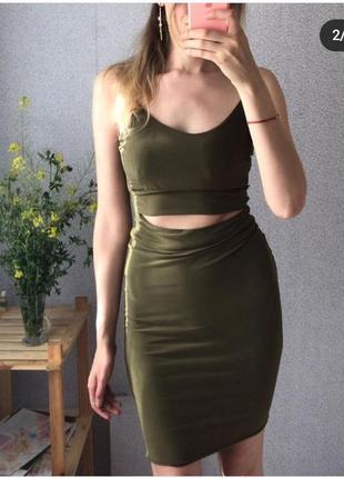 Платье мини, платье цвета хаки