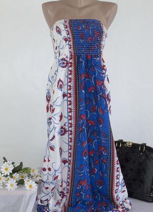 Брендовое макси платье peacocks индия цветы  этикетка
