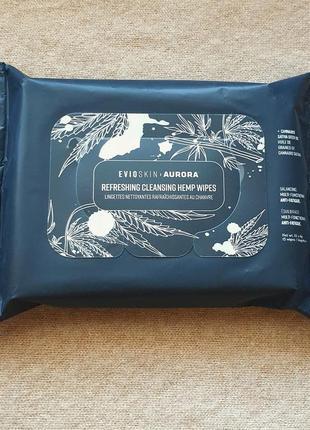 Эко-салфетки для снятия стойкого макияжа evio с маслом конопли, очищение и увлажнение