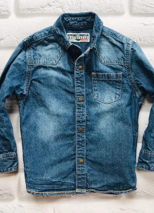 Next стильная джинсовая рубашка на мальчика 4 года