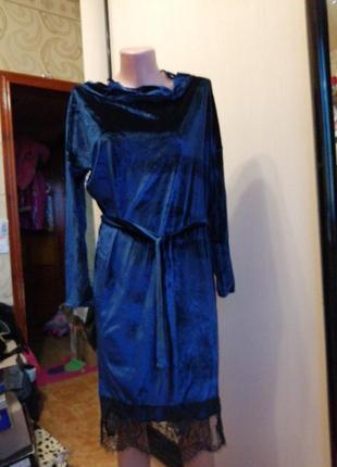 Платье вилюр синий