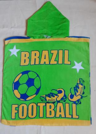"""Детское пляжное полотенце, пончо """"футбол"""" для мальчика 1-8лет германия"""