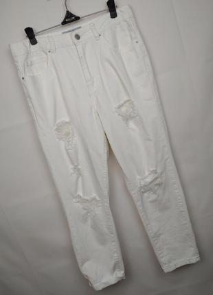 Джинсы момы белые модные рваные new look uk 10/38/s