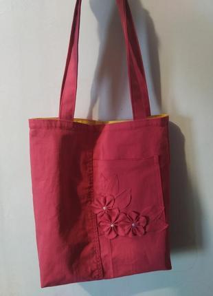 Джинсовая сумка ручной работы,еко шоппер
