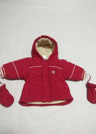 Зимняя курточка 68/74,теплая куртка,зима с варежками