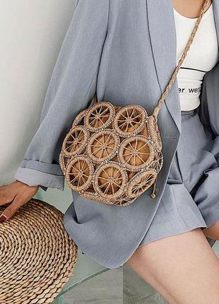 Плетеная соломенная пляжная сумка длинный ремешок