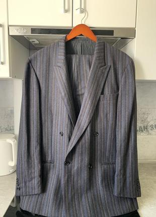 Шерстяной костюм двубортный пиджак франция оригинал pierre cardin