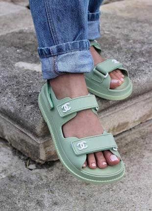 Шикарні босоніжки chanel sandal mint sandals босоножки сандалі сандали