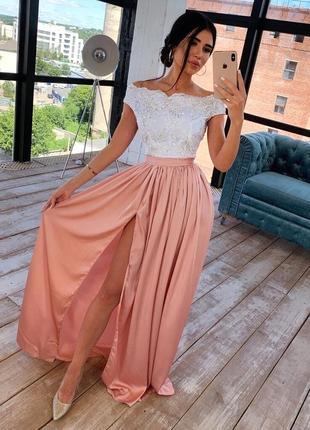 Роскошное платье длинное вечернее в пол шелковое кружевное открытые плечи