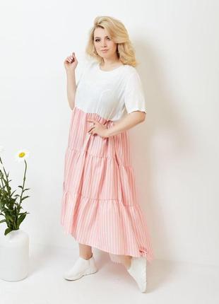 Летнее асимметричное платье большого размера цвет розовый