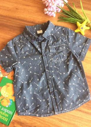 Классная хлопковая рубашка для парнишки f&f 3-4 года