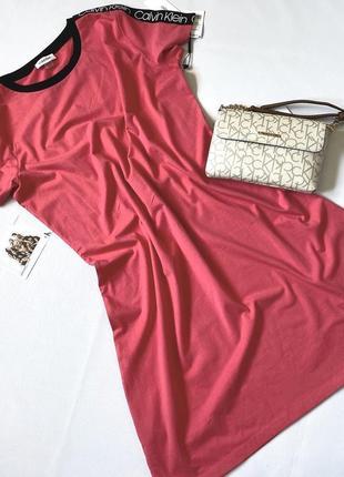 Коралловое платье, платье calvin klein