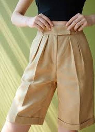 Льняные шорты, бермуды карамельного цвета1 фото