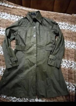 Платье-халат защитного цвета фирмы w.s пуговицы xiuxian подарок платочек