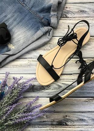 Легонькие сандалии на плоском ходу с тонкими лямками и шнуровкой  sh1284 asos