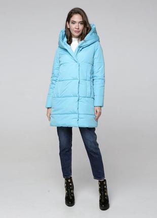 Голубая зимняя женская куртка по скидке! распродажа! пальто