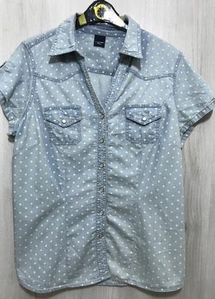 """Рубашка джинсовая """"в горох"""""""