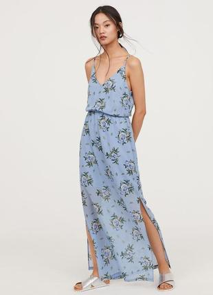 🌿макси сарафан на тонких бретельках h&m летнее платье в пол под винтаж