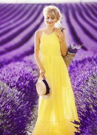 Шифоновое макси платье сарафан жёлтое с пояском