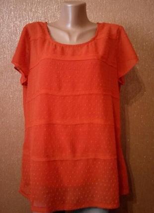 Коралловая блузка короткий рукав вышивка плюмети+майкой размер 14-16 per una