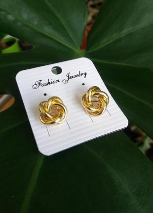 Модные серьги серёжки под золото бижутерия гвоздики