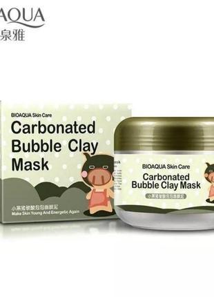 Кислородная карбоновая глиняная маска carbonated bubble clay mask bioaqua 100 g