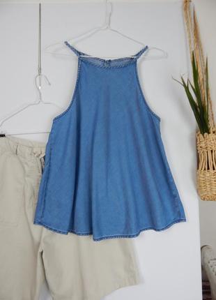 Джинсовый топ майка трапеция на тонких плетеных бретелях с открытыми плечами new look2 фото