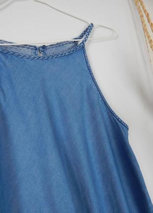 Джинсовый топ майка трапеция на тонких плетеных бретелях с открытыми плечами new look4 фото