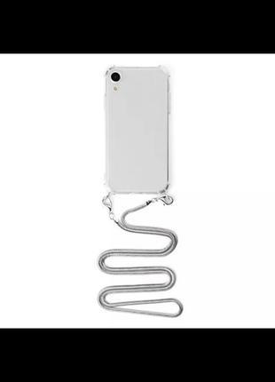 Прозрачный силиконовый чехол с цепочкой на samsung a50