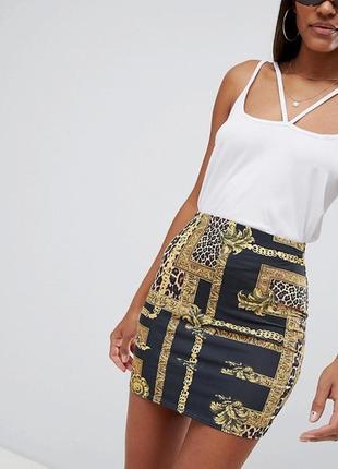 Чёрная юбка в принт с завязкой на талии  missguided