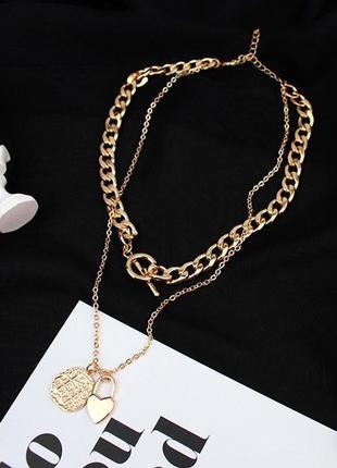 Массивная золотая цепь многослойное колье крупная цепочка новая подвеска ожерелье чокер