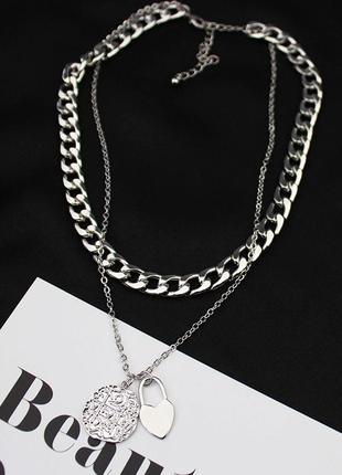 Массивная серебряная цепь многослойное колье крупная цепочка новая подвеска ожерелье чокер